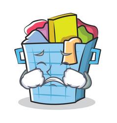 crying laundry basket character cartoon vector image
