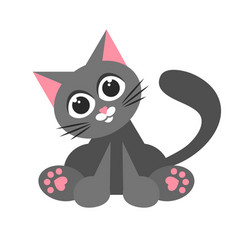 cute cartoon cat sticker isolated on white vector image