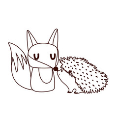 cute fox and hedgehod animals cartoon isolated vector image