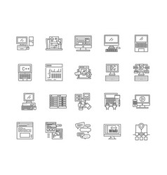 data storage line icons signs set vector image