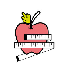 Delicious apple fruit with healthy heart vector