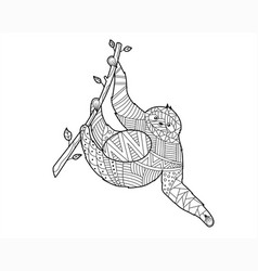 doodling sloth hanging from a tree coloring page vector image