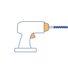 drill tool icon in color sections silhouette vector image