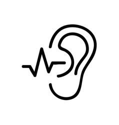 Ear hears a sound wave icon outline vector
