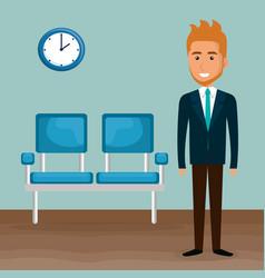 elegant businessman in the waiting room vector image