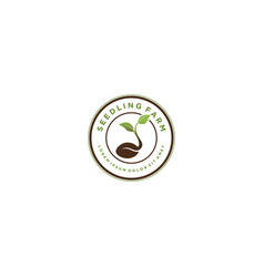 Farming seed logo design - growing botanical vector