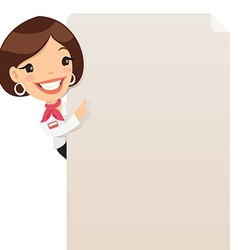 female manager looking at blank poster vector image