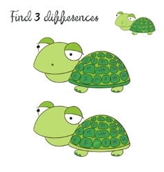 Find differences kids layout for game turtle vector image