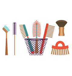 Flat zero waste cleaning eco friendly brushes vector
