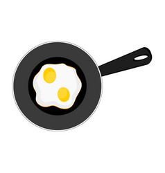 fried eggs on pan on white background breakfast vector image