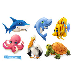 Funny sea animals and fishes 3d icon set vector