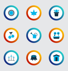 garden icons colored set with watering can vector image