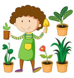 Gardener with potted plants vector image