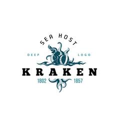Giant evil kraken logo silhouette octopus sea vector