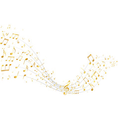 Golden music notes background vector
