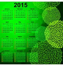 Green calendar for 2015 vector image