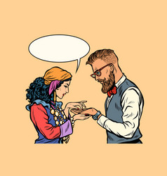 Gypsy palmist and hipster vector