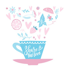 hand drawn cup coffee or tea on gentle vector image