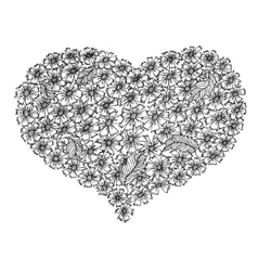 Hand drawn heart from flowers vector