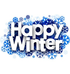 Happy winter background with snowflakes vector