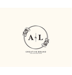 Initial al letters hand drawn feminine and floral vector