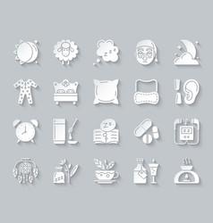Insomnia simple paper cut icons set vector