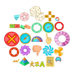 interface design icons set cartoon style vector image