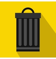 Iron trash can icon flat style vector