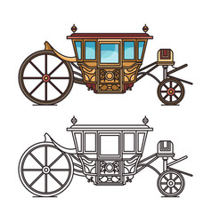 Isolated vintage chariot or carriage for wedding vector