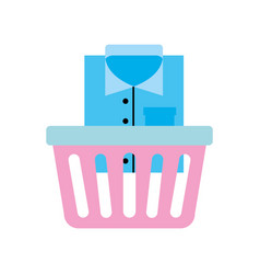 laundry basket with clothes vector image