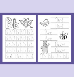 letter b tracing practice worksheet set learning vector image