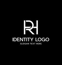 Letter rh or hr monogram modern business logo vector