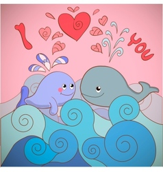 Lovers whales on a card for Valentines day vector image