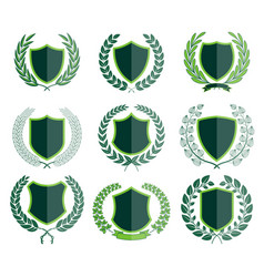 luxury green badges laurel wreath collection vector image