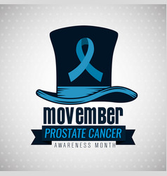 Male hat with blue ribbon to movember vector
