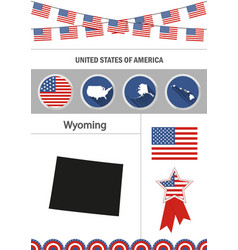 Map of wyoming set of flat design icons vector