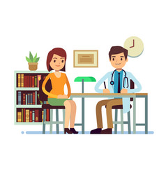 medical consultation with doctor and young woman vector image