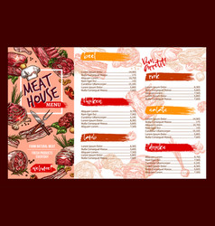 Menu template for fresh meat restaurant vector