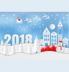 merry christmas 2018 winter vector image