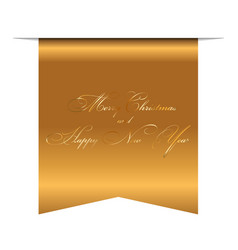 merry christmas and happy new year wishes 3d gold vector image