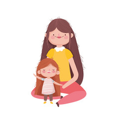 mother and little girl characters on white vector image