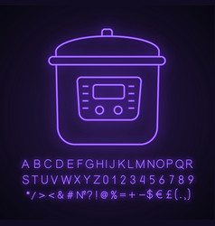 Multi cooker neon light icon vector