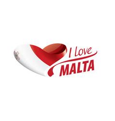 National flag malta in shape a heart vector