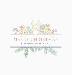 New year and christmas greeting card or label vector