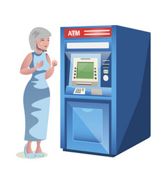 Old woman character standing near the atm vector