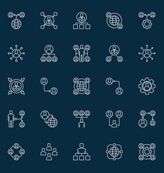 outsourcing outline concept icons or design vector image