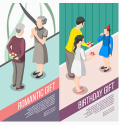 people with gifts isometric banners vector image