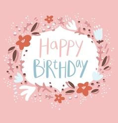 Pink floral birthday congratulation card vector image