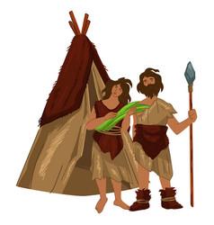 Prehistoric culture ancient man and woman hut vector