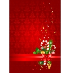 Red christmas background with decoration vector